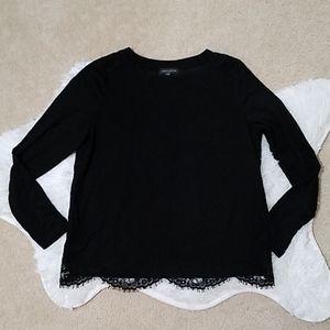 Lord & Taylor petite black lace shirt
